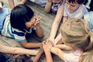 Kids holding hands - least restrictive environment