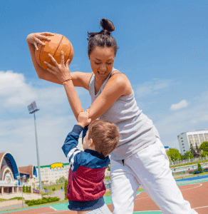 Mom and Child with Basketball