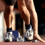 Athlete on starting blocks for Track and Field