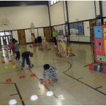 students playing games in PE
