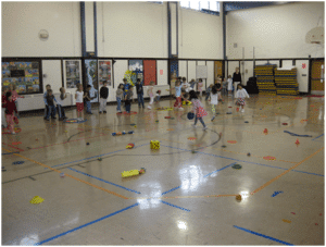 students playing games in PE 2