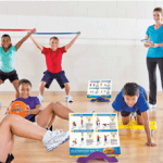 Students exercising for PE Fitness Stations