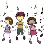 Students dancing to instant activity songs