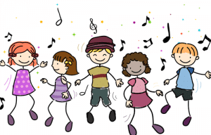 Students dancing to music