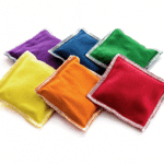 Rainbow colored beanbags for beanbag activities