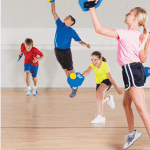 students playing pe game