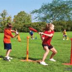 Students playing with PE equipment