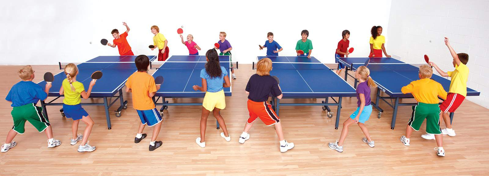 Class playing table tennis