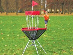 Boy playing cardio disc golf