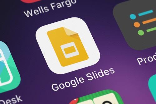 Google Slides app on purple background